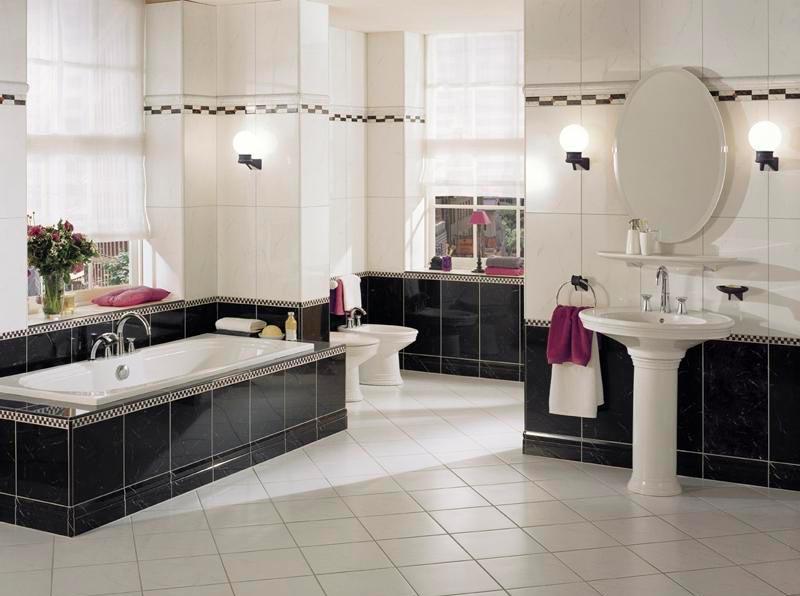 Варианты дизайна черно-белой ванны 59