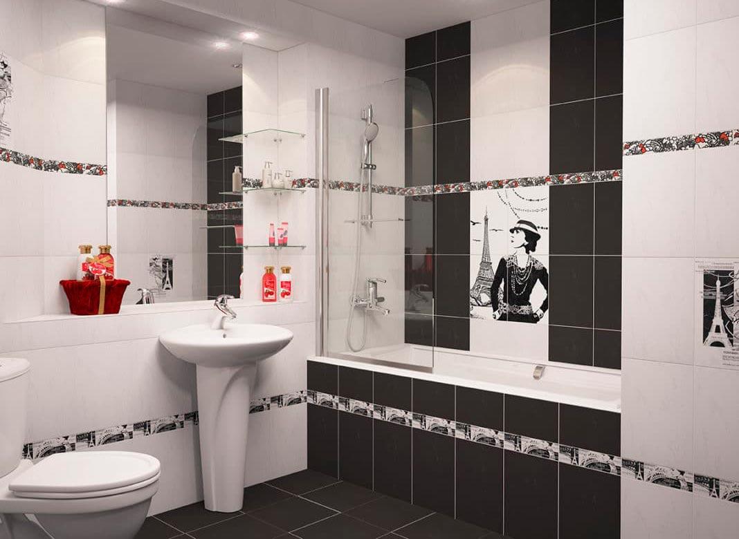 Варианты дизайна черно-белой ванны 6