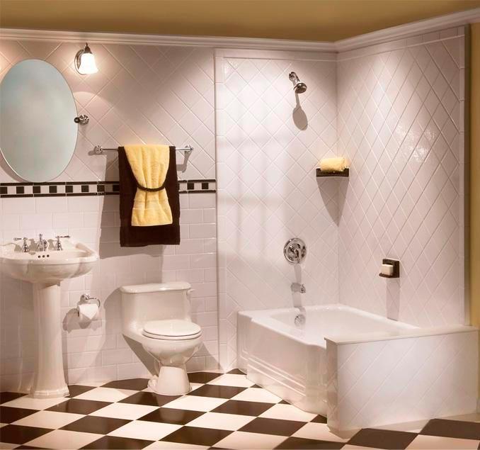 Варианты дизайна черно-белой ванны 65