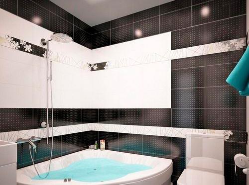 Варианты дизайна черно-белой ванны 66