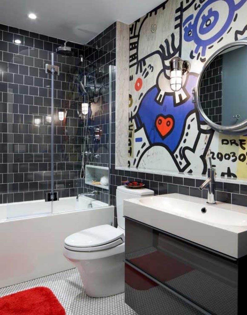 Варианты дизайна черно-белой ванны 68