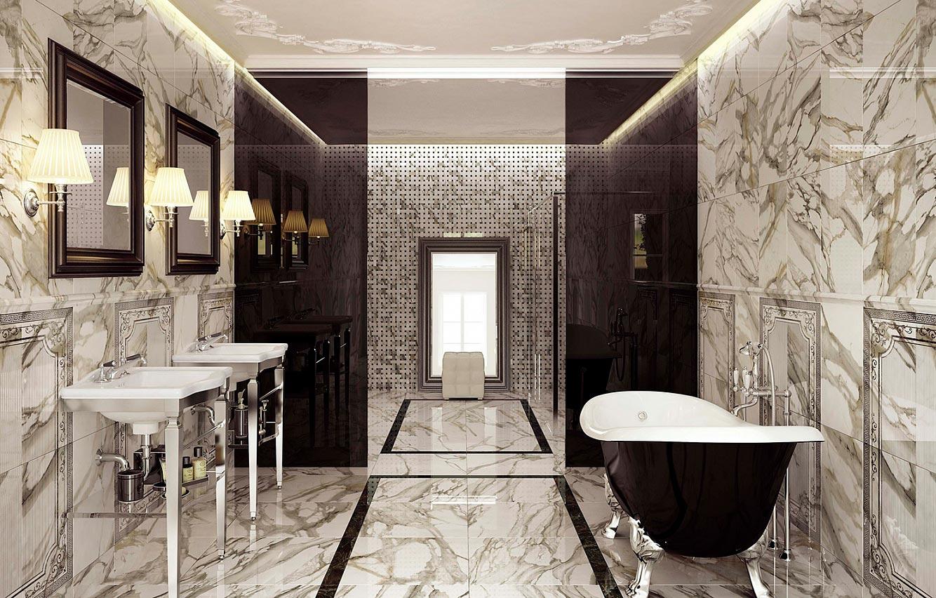 Выбор мраморной плитки в зависимости от параметров ванной комнаты 2
