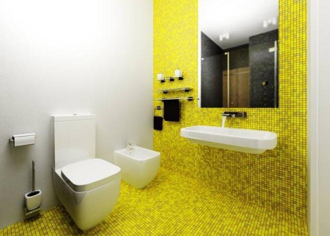 желтая мозаика в ванной
