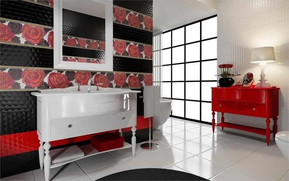Фьюжн в интерьере ванной комнаты плитка