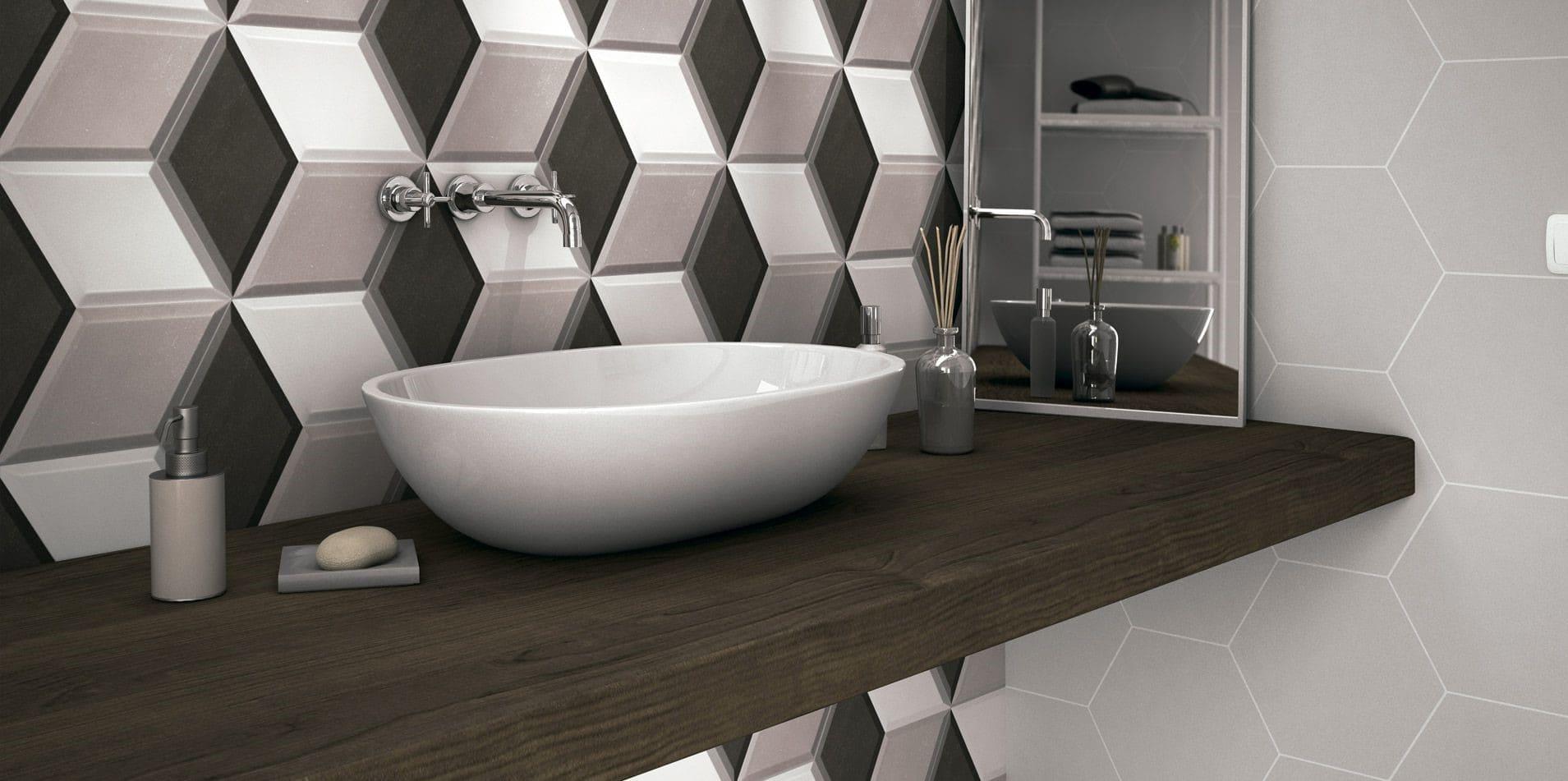Геометрические узоры плитка в ванной