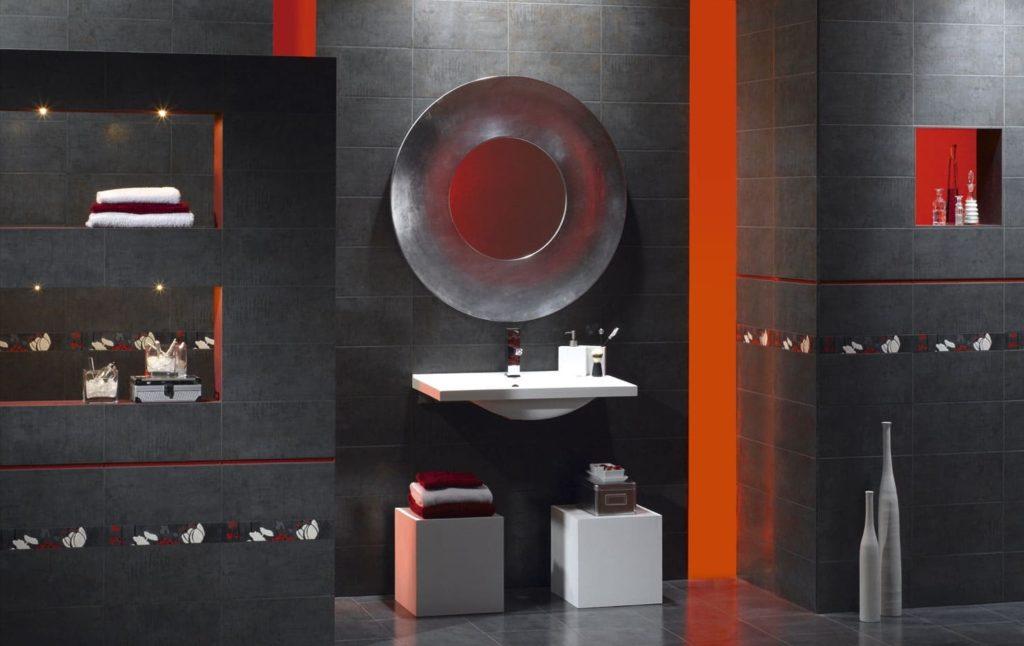 Мебель и аксессуары в ванную с серым кафелем