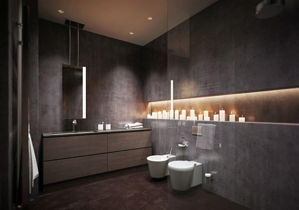 Выбор освещения в ванной с серой плиткой