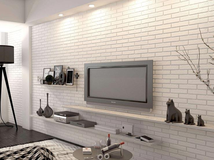 Белая плитка под кирпич в гостинной