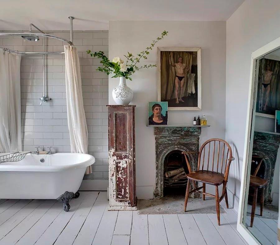 Цветовые решения ванной в стиле шебби-шик 3