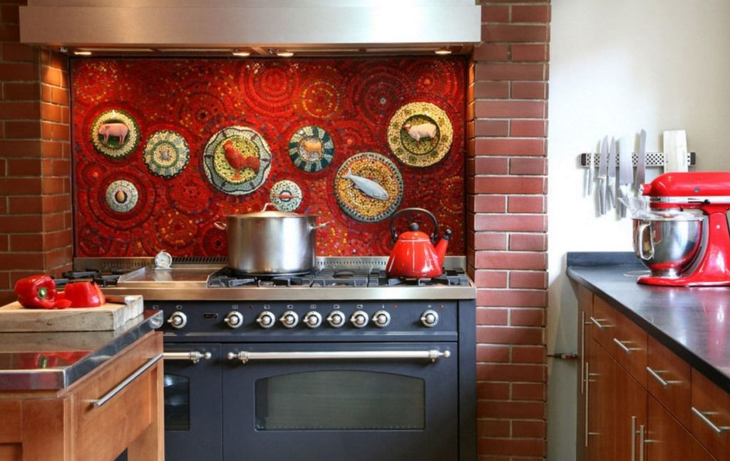 дизайн плитки мозаики на кухню