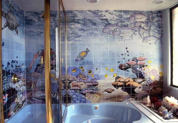 Другие варианты дизайна панно в ванной 27