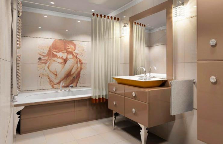 Другие варианты дизайна панно в ванной 31