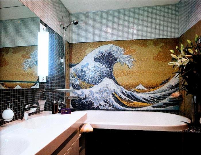 Другие варианты дизайна панно в ванной 45