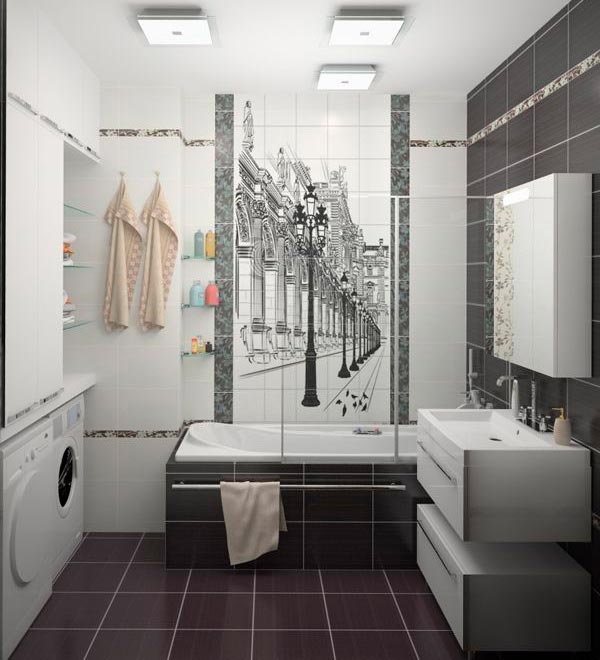 Другие варианты дизайна панно в ванной 49
