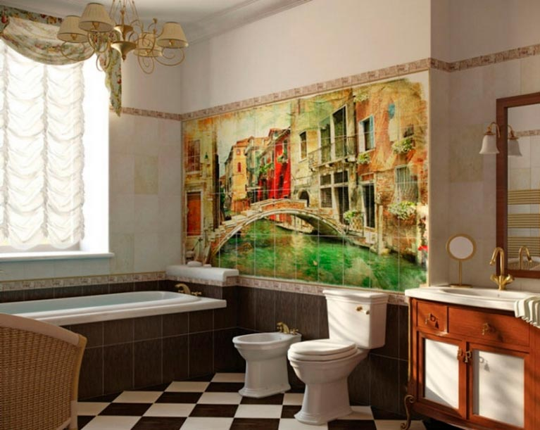 Другие варианты дизайна панно в ванной 61