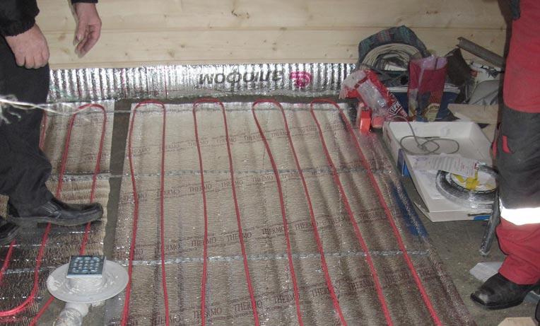 электрическая система напольного обогрева в бане
