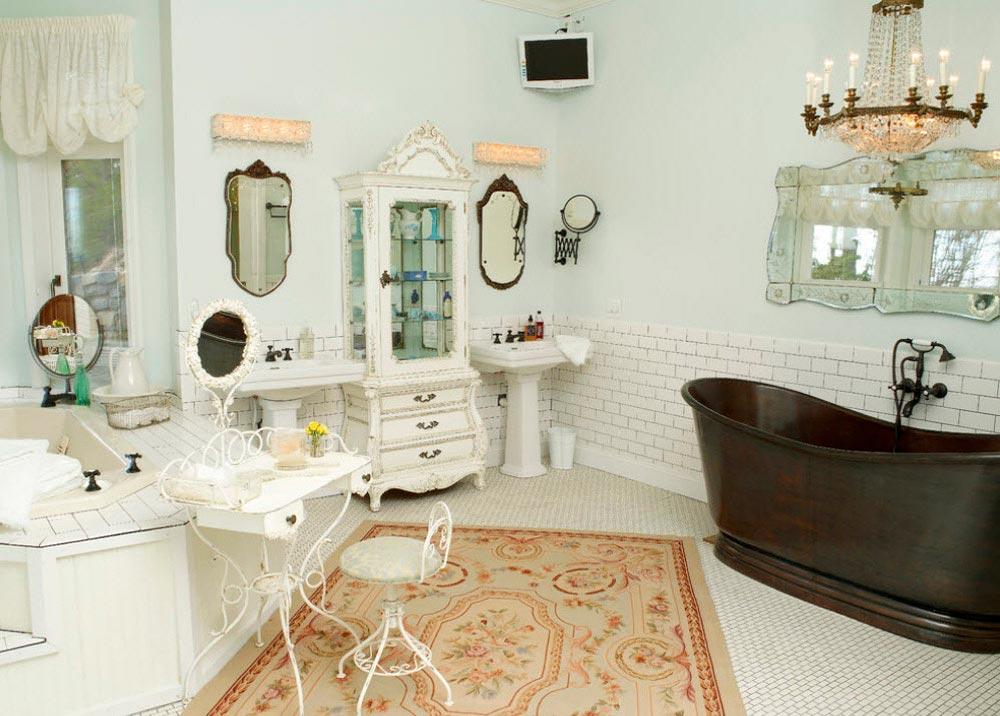 Фактура керамической плитки в ванной в стиле шебби-шик 6