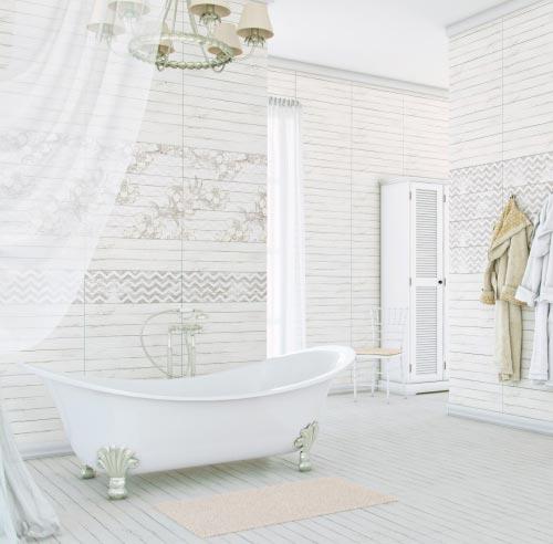 Фактура керамической плитки в ванной в стиле шебби-шик
