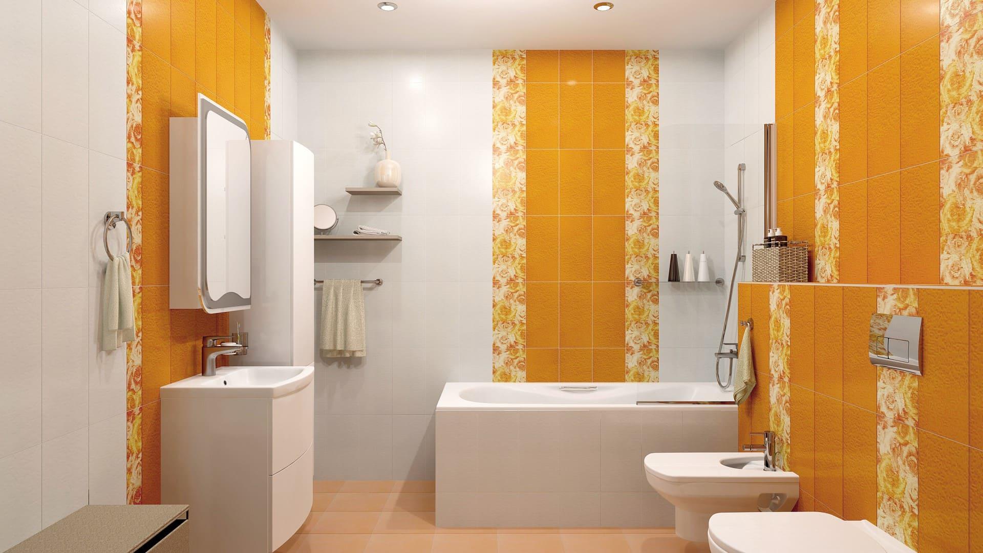 фьюжн плитка в интерьере ванной комнаты