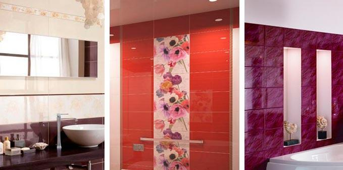 глянцевая плитка для ванной-варианты