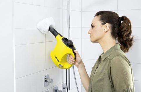горячий пар для чистки швов между плиткой в ванной