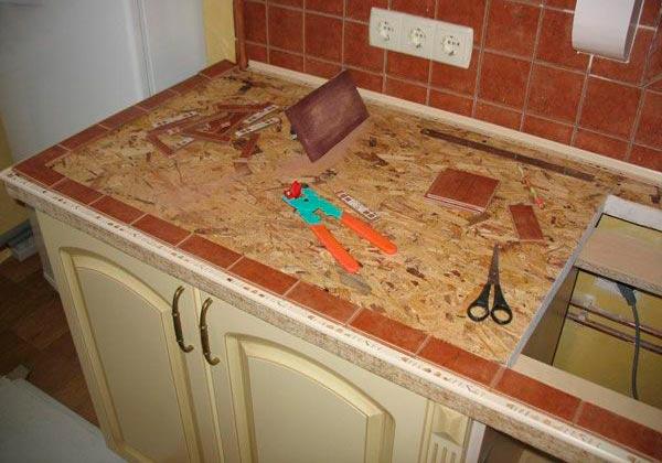 Изготовление основания для кухонной столешницы из плитки