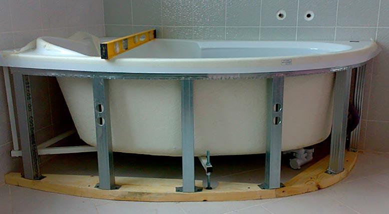 как установить ванную под плитку-изготовление каркаса