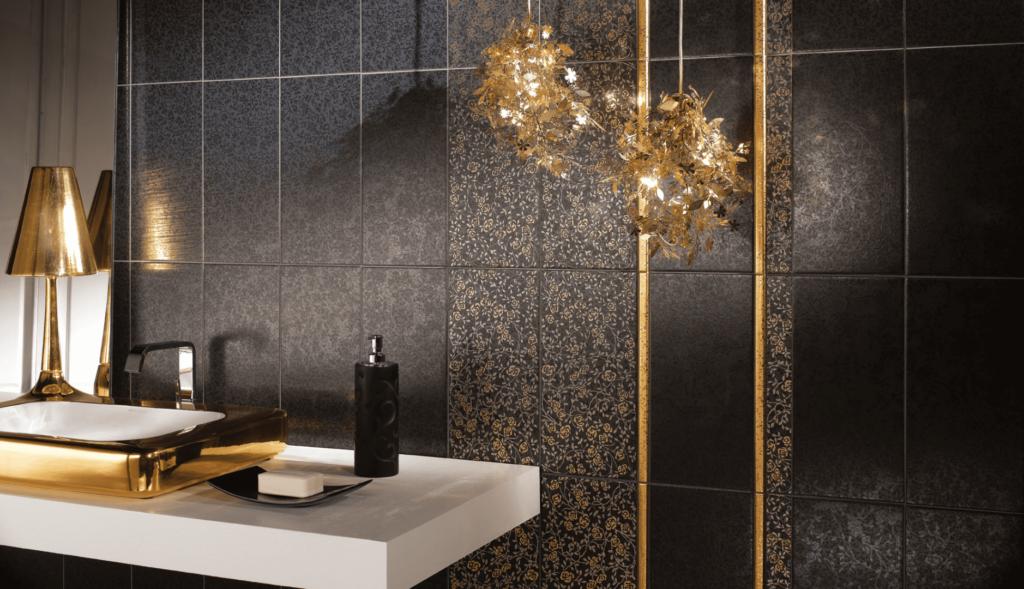 мебель коричневого цвета в ванной с серой плиткой