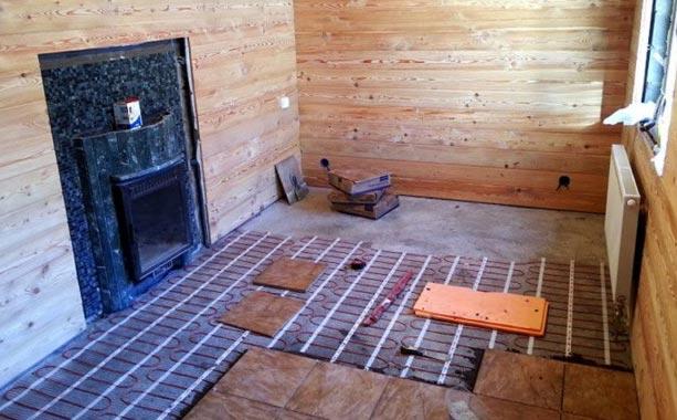 монтаж теплого пола в бане под плитку
