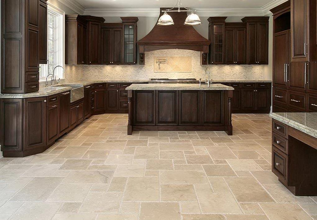 однотонная плитка на пол для кухни