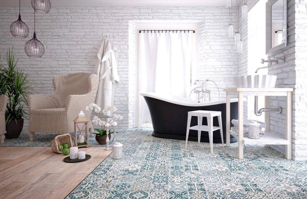 Оформление ванной комнаты в стиле шебби шик 2