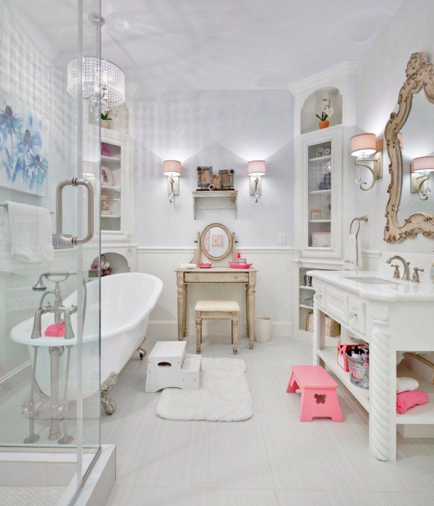 Оформление ванной комнаты в стиле шебби шик 3
