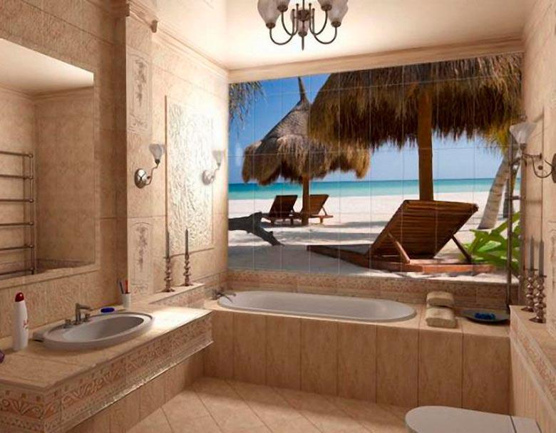 Панно из фотоплитки для стены в ванной