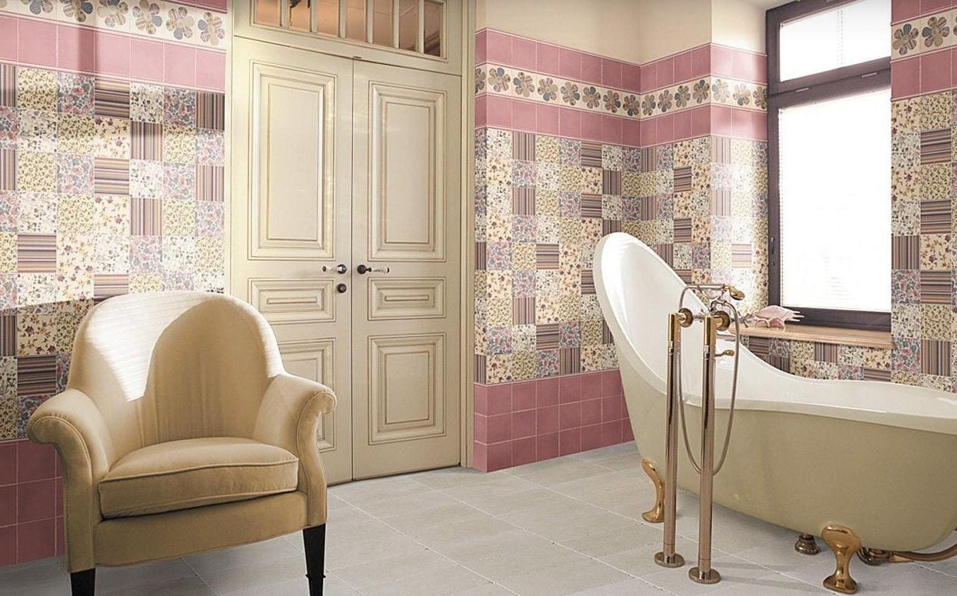 печворк плитка в ванной дизайн