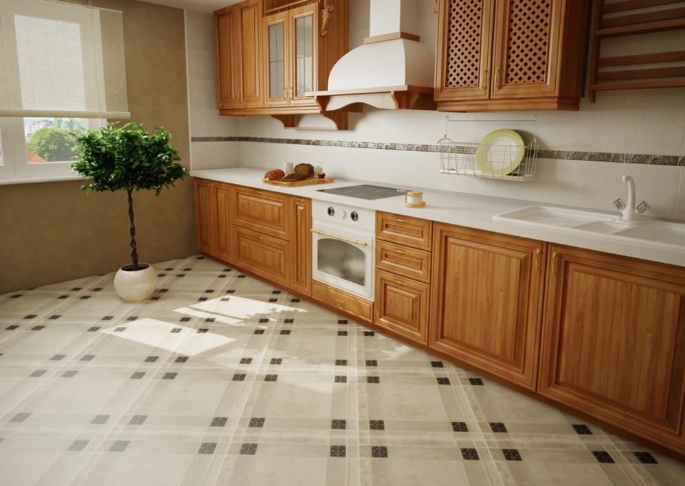 плитка на пол для кухни по диагонали
