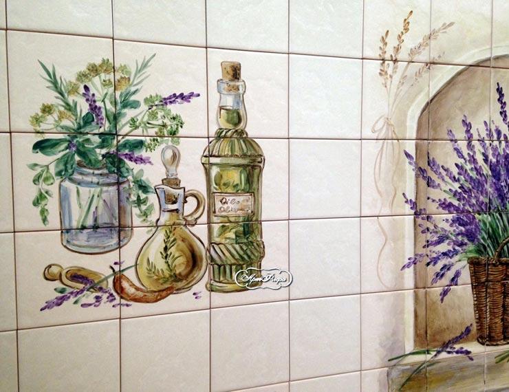 Плитка прованс с рисунками на кухне