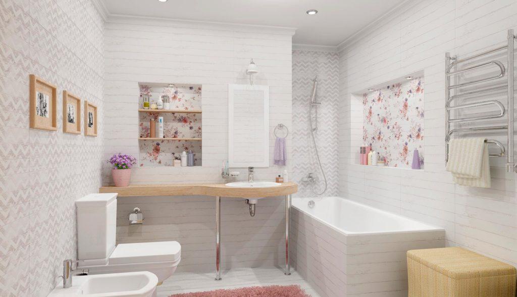 Плитка шебби шик в интерьере ванной 3