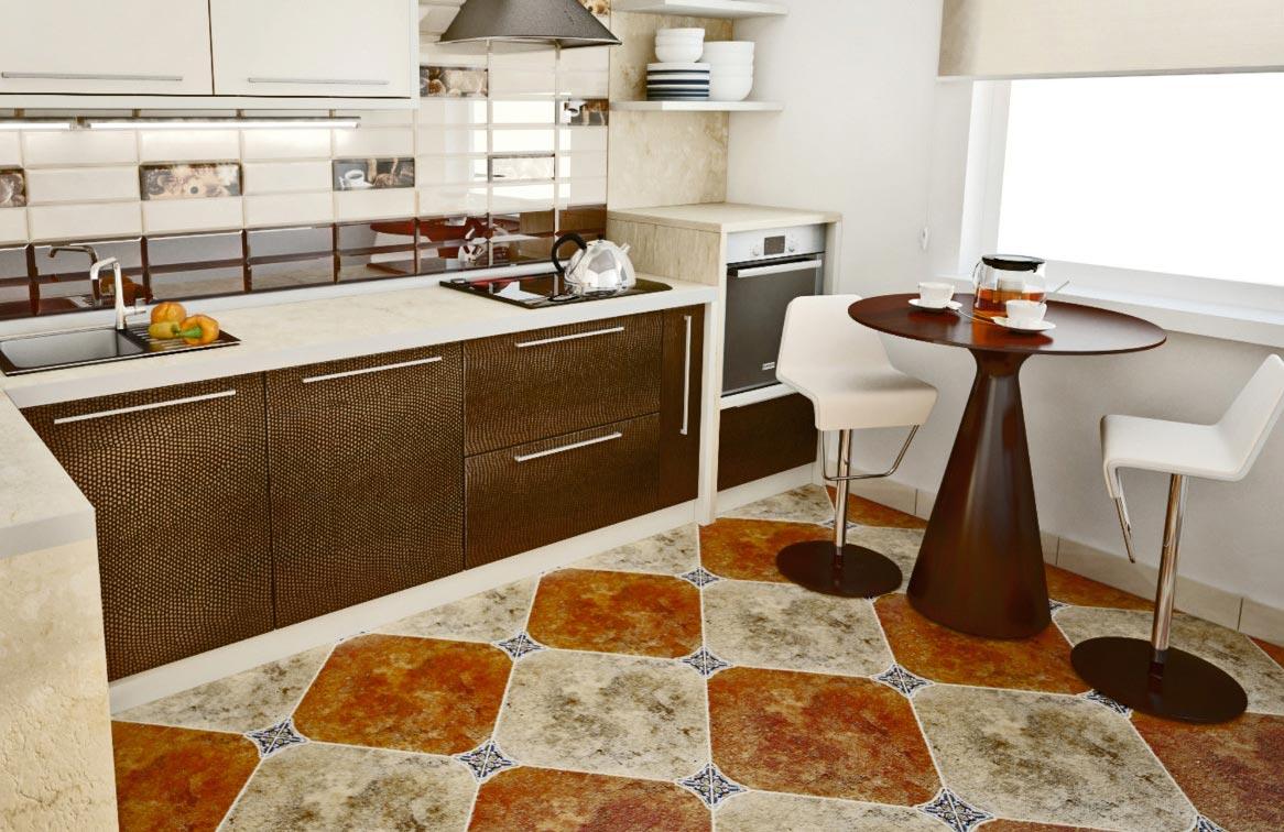полы на кухне-дизайн