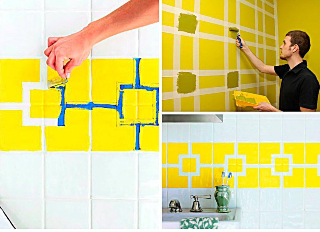 Рисунок красками на плитке в ванной