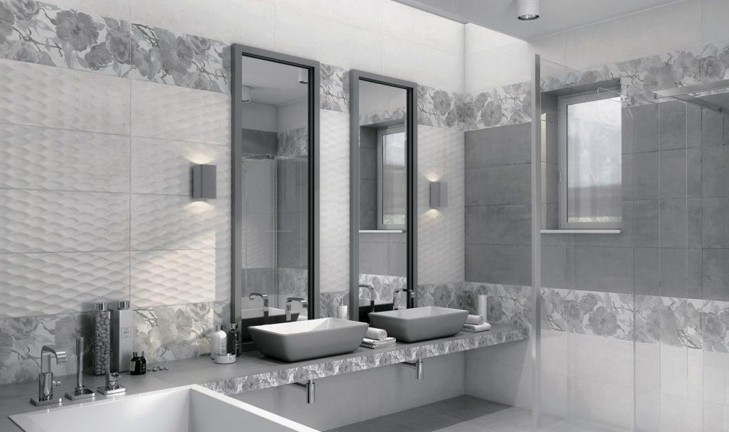 серая плитка для ванной комнаты