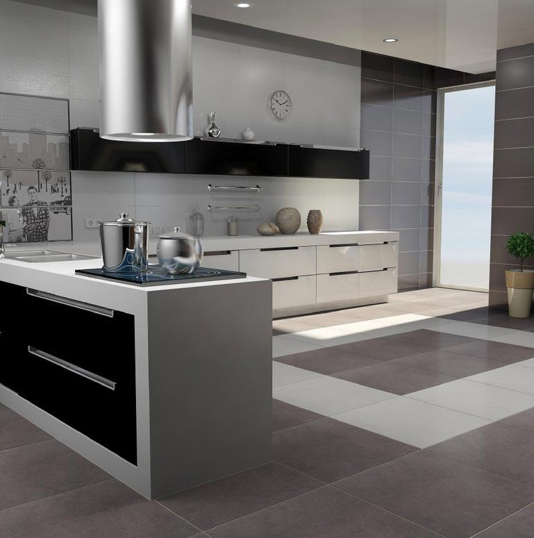 серая плитка на пол для кухни