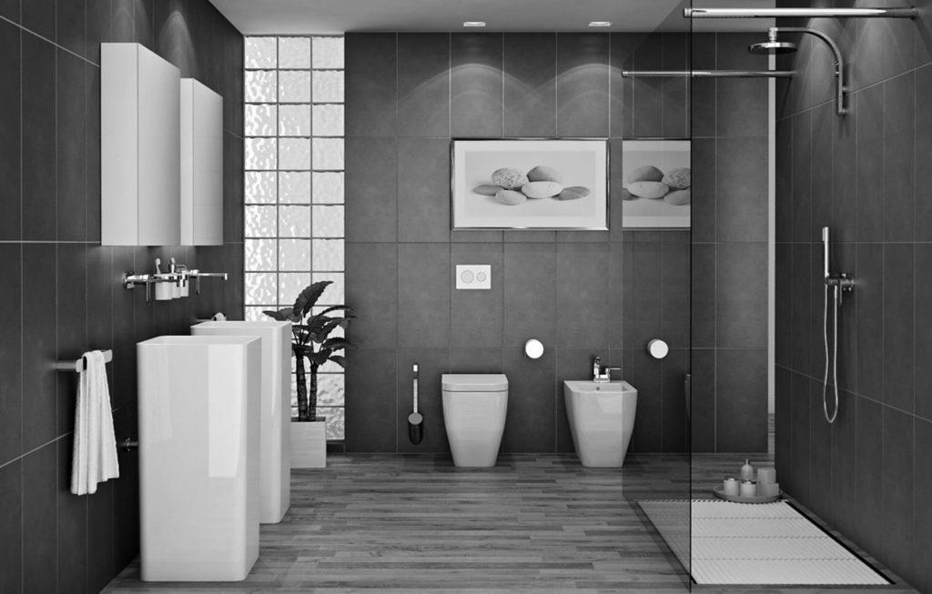 серая с белым плитка в ванной
