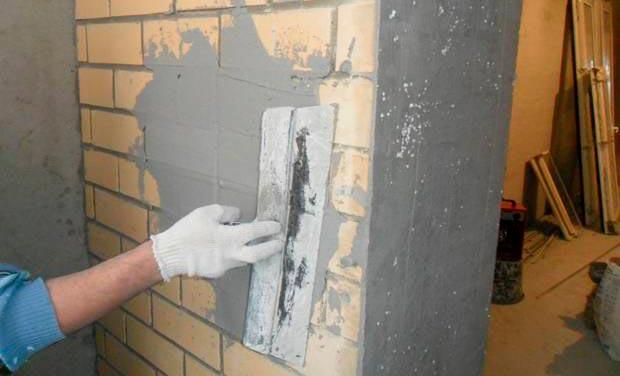 Штукатурка стен из кирпича под плитку