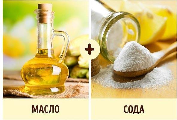 сода и растительное масло от жира на кухне
