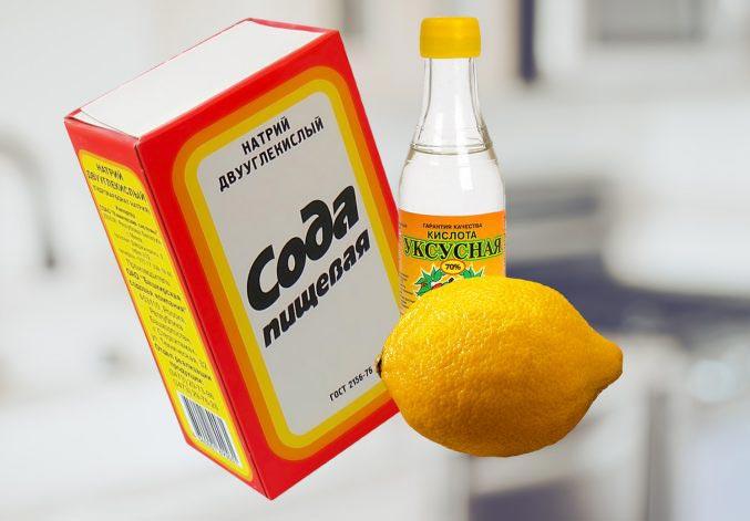сода, лимон и уксус для чистки швов между плиткой в ванной
