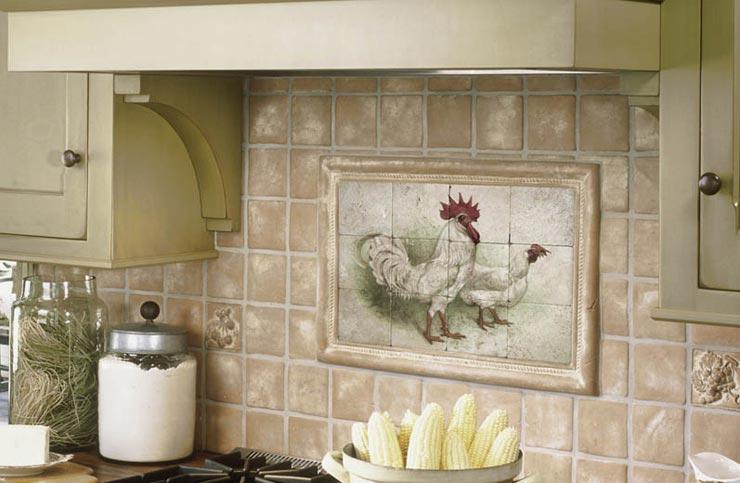 Состаренная плитка прованс на кухне