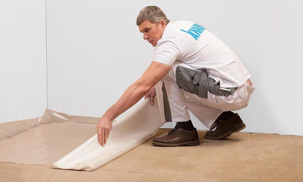 сухая стяжка пола плиточным клеем