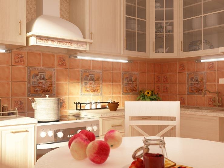Терракотовая плитка прованс на кухне