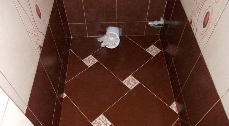 укладка плитки на пол в туалете по диагонали-рекомендации
