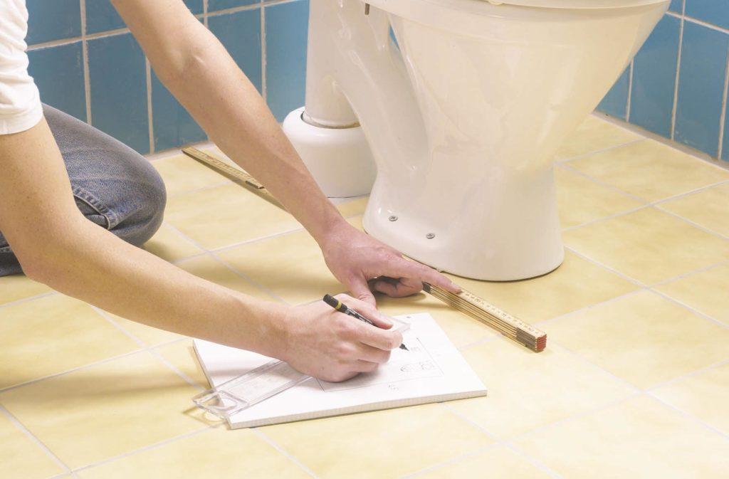 укладка плитки на пол в туалете-расчет материала